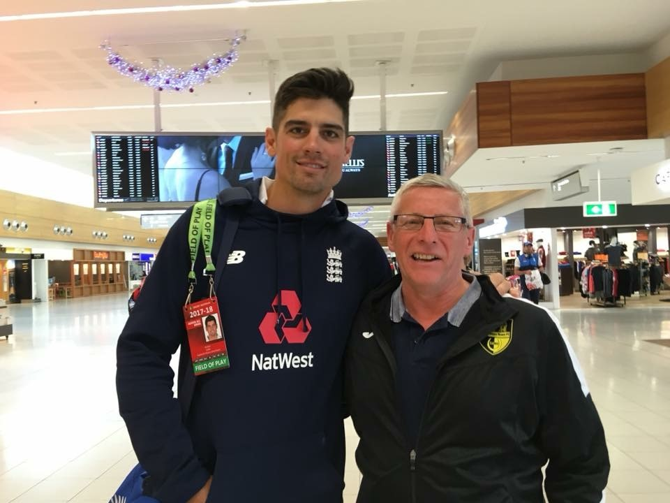 STAR-SPOTTING: Mike Hatcher with former England captain Alastair Cook.