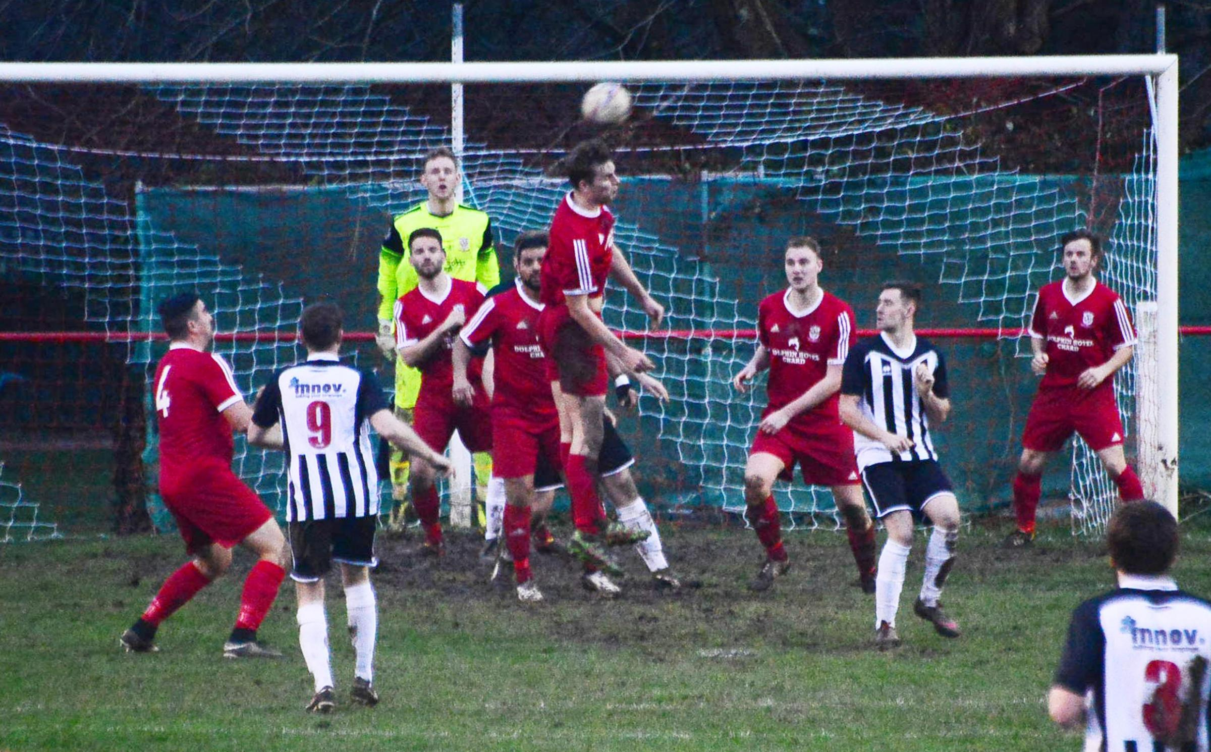 LEAP: Chard Town are looking to continue their fine form against Sherborne Town. Pic: Steve Richardson