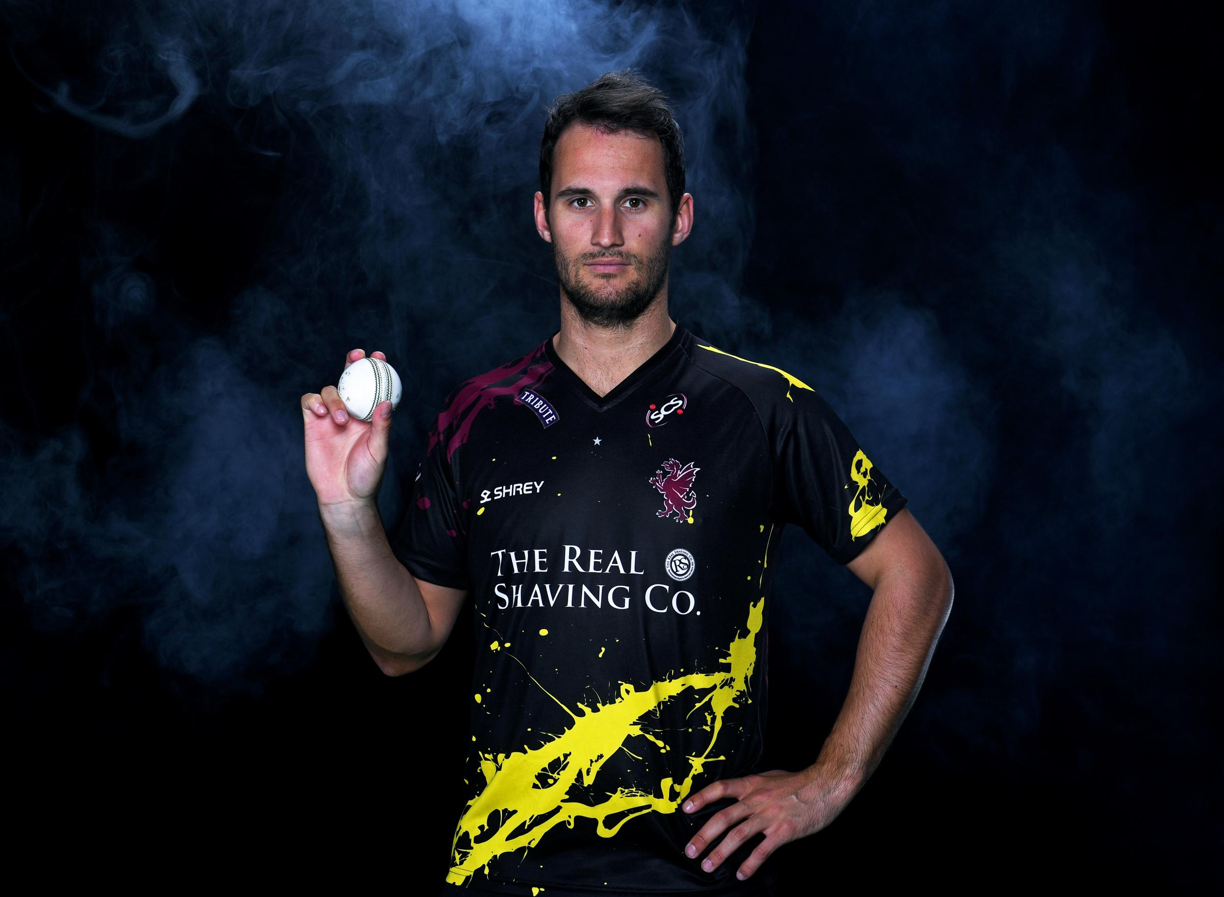 NEW KIT: Somerset T20 captain Lewis Gregory in the new shirt. Pic: Alex Davidson/SCCC
