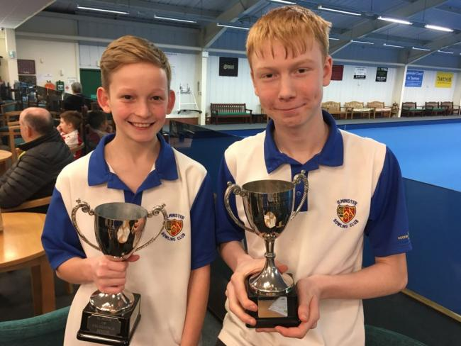 DELIGHT: Oli Collins (left) and Leo Bonning with their trophies from the Somerset School of Excellence.