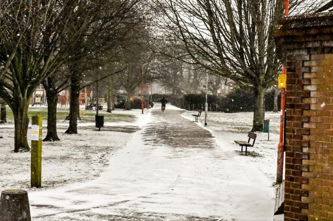 Snow in Victoria Park, Town Centre & Canon Street, Taunton Somerset