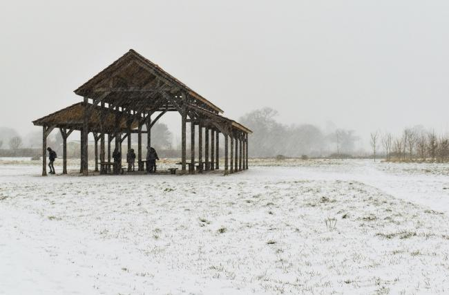 Longrun Barn and the Willow Cathedral in the snow yesterday.