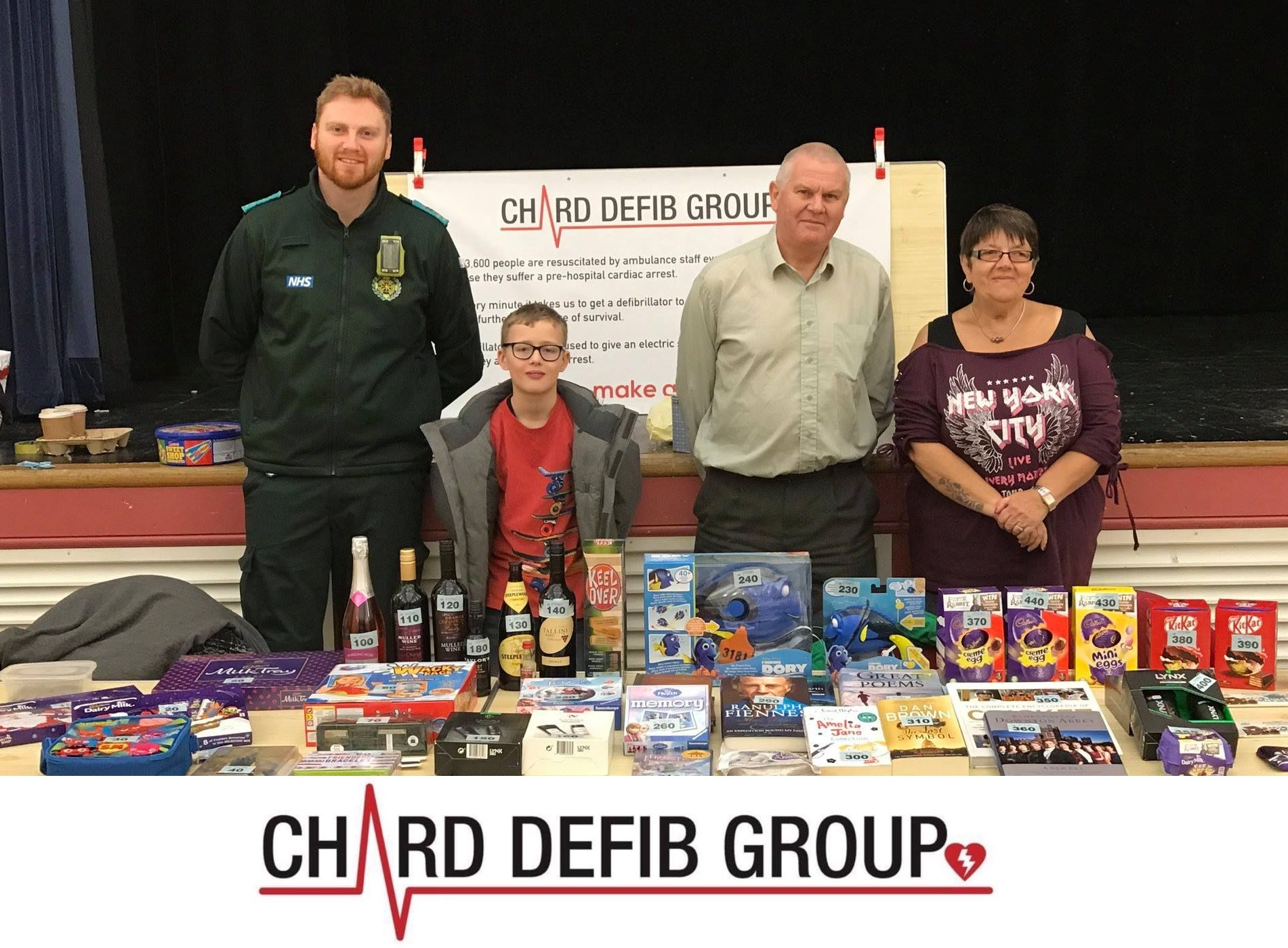 VOLUNTEERS: People raising money and awareness for the Chard Defib Group at the recent Easter Fayre