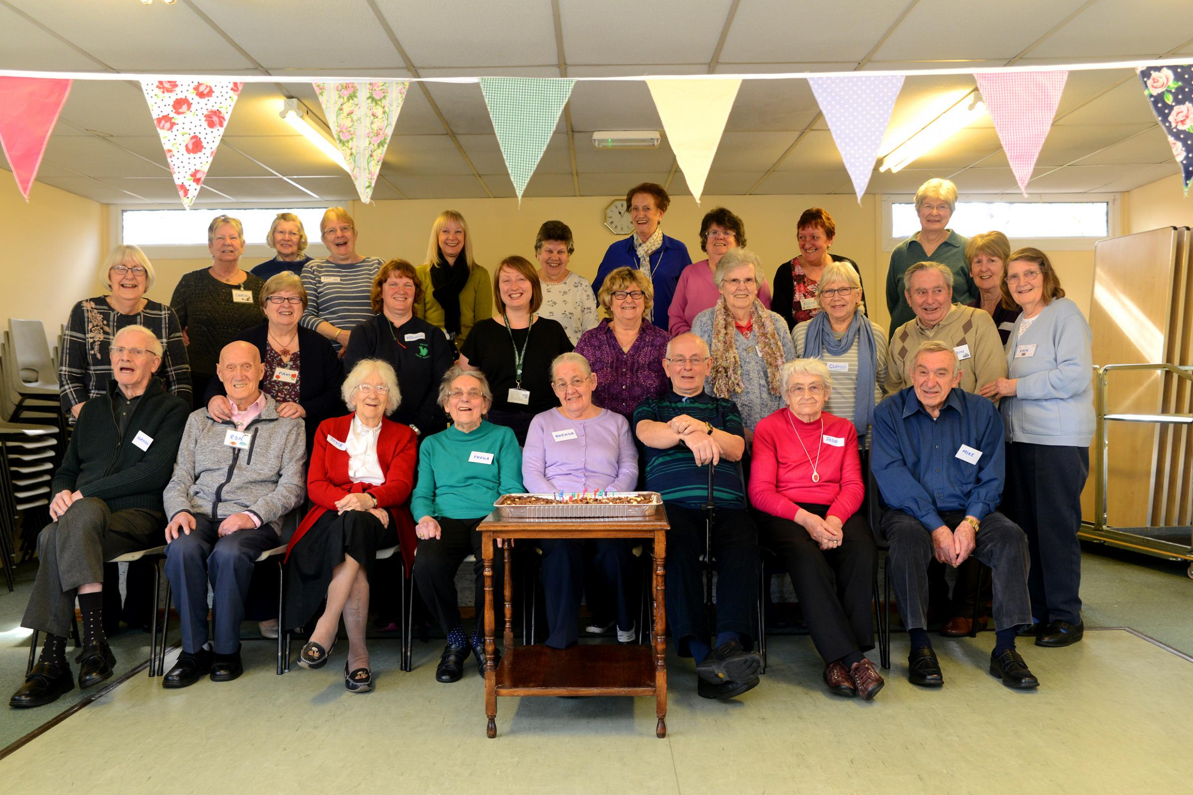 CELEBRATIONS: The Memory Cafe in Chard's English Martyrs Church Hall, enjoying the ninth birthday