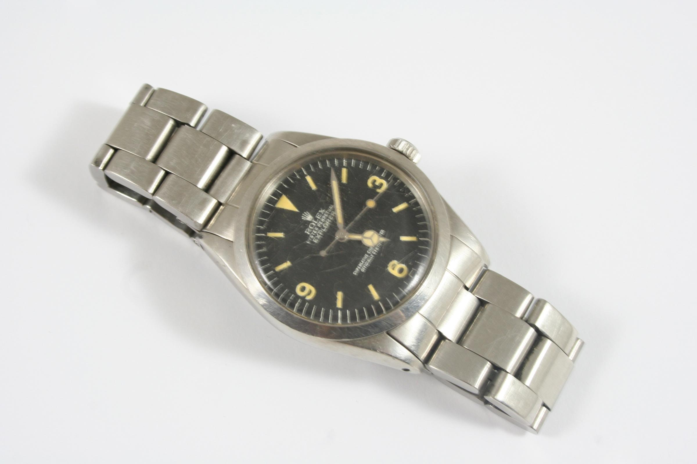 ON TIME: A gentleman's steel `Explorer` wristwatch by Rolex from the early 1970's