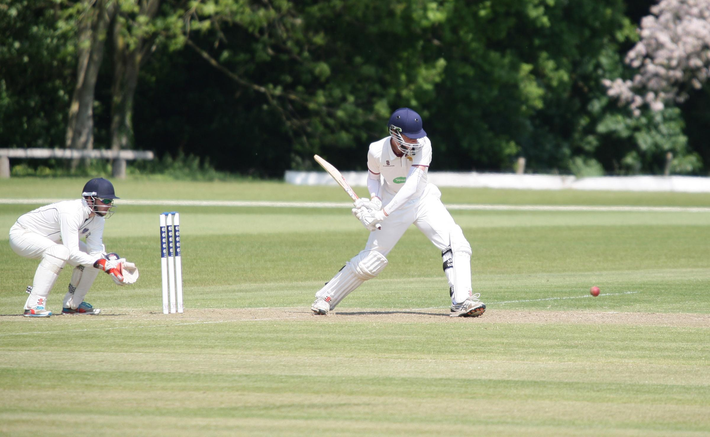 HALF-CENTURY: North Perrott's very own Kiwi, Jack Henderson, on his way to his first 50 since arriving at the club. Pic: Adrian Hopper