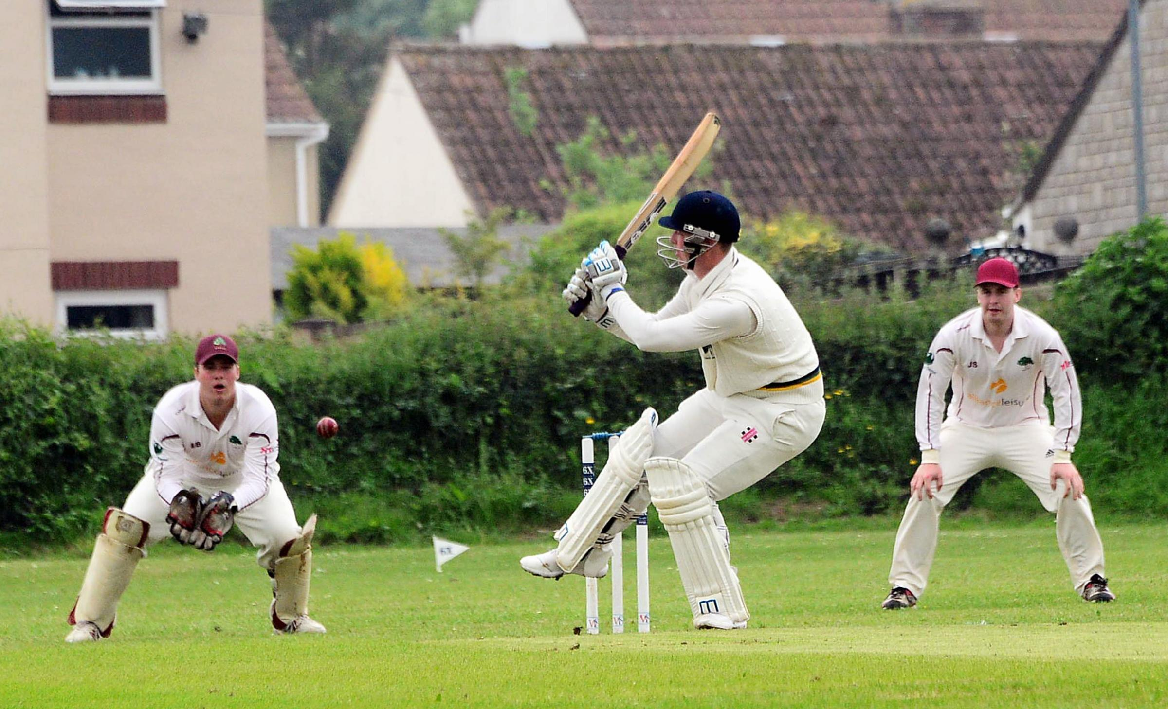 TON UP: Louis Kraucamp on his way to 105 for Ilminster against Shapwick & Polden. Pic: Steve Richardson