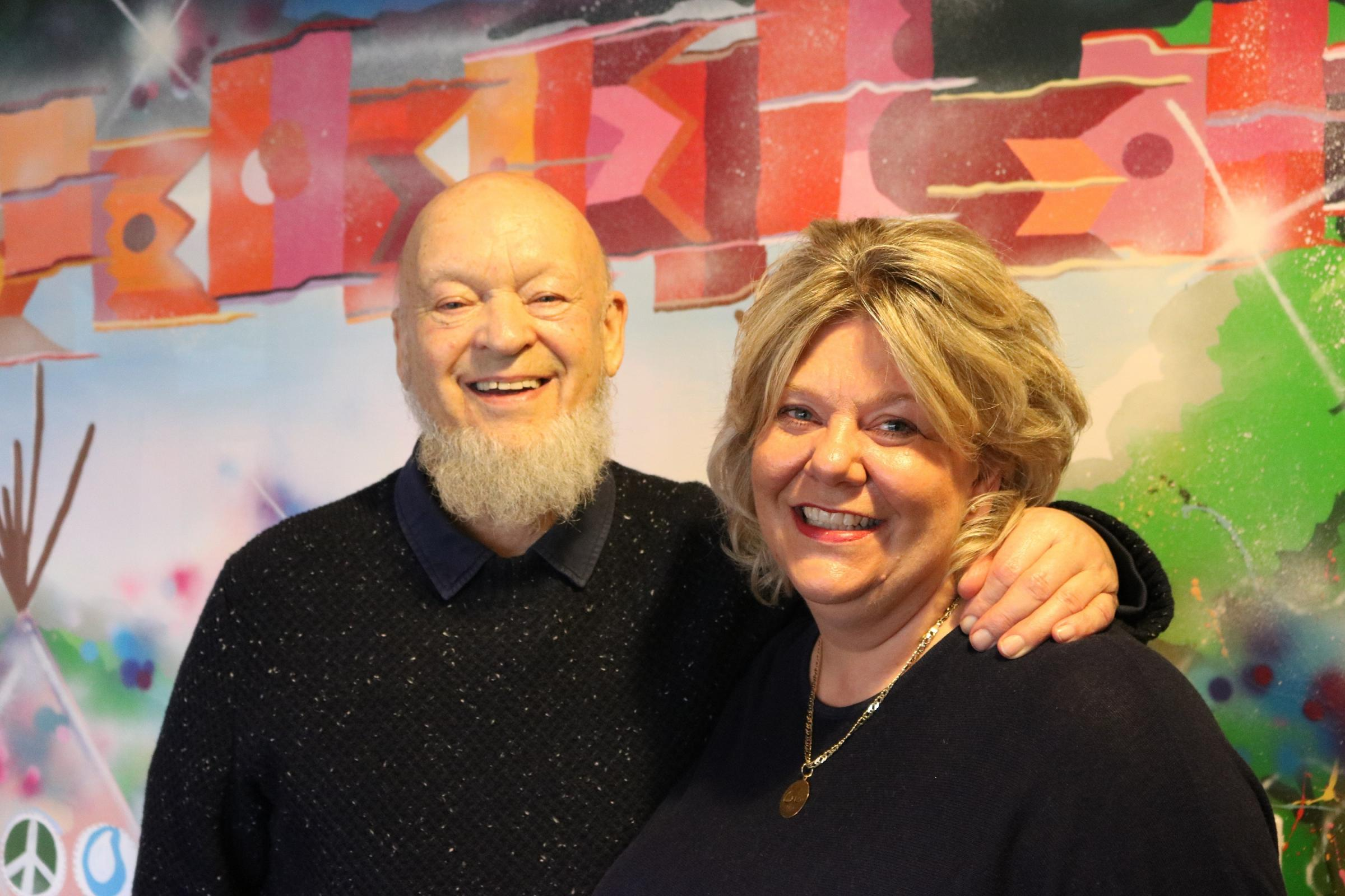 SUPPORT: Michael Eavis with Clare Gallie, director of fundraising, marketing and communications for St Margaret's