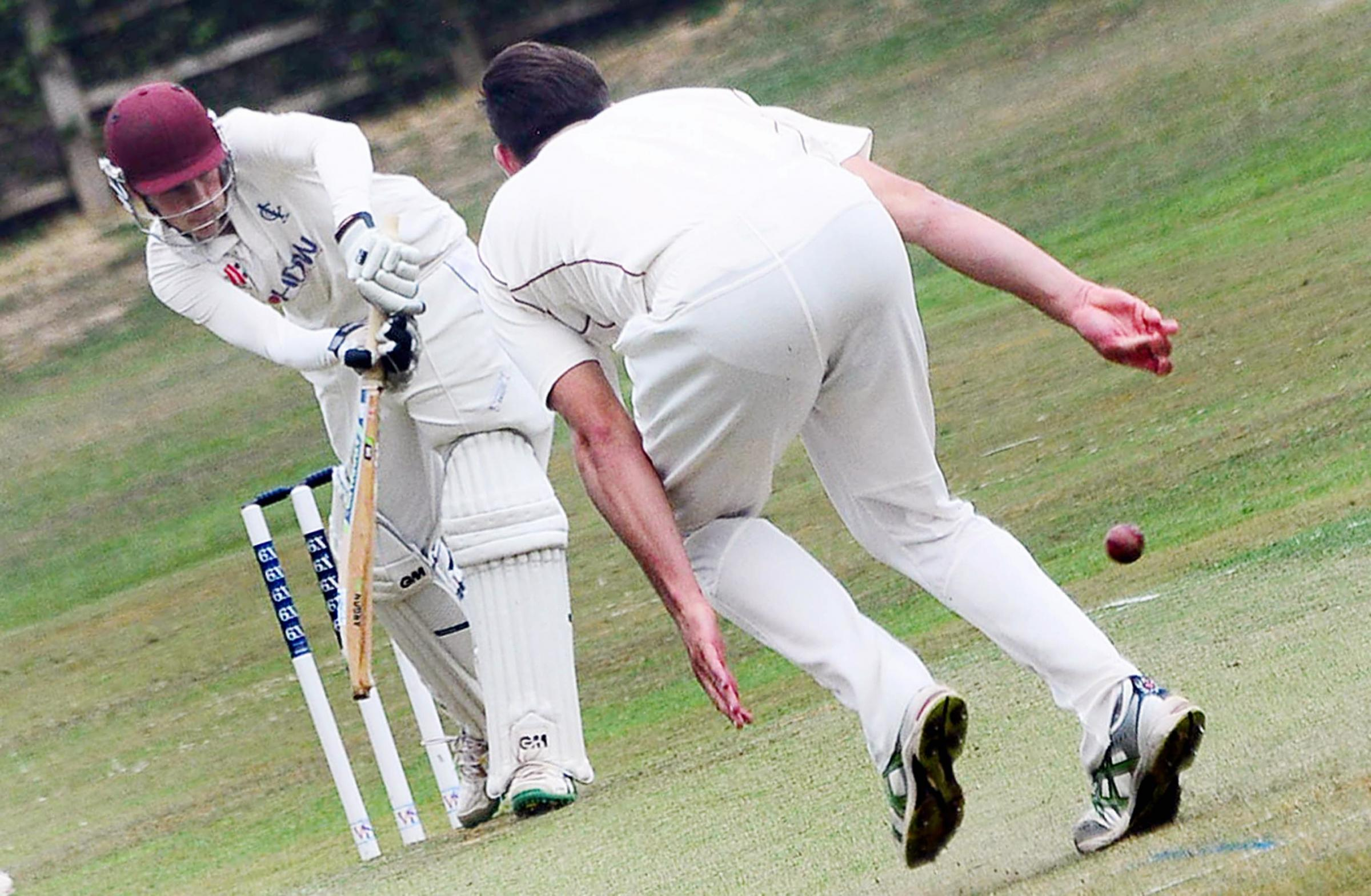 ON-DRIVE: Charlie Vickery in action for Ilminster against Shapwick & Polden on Saturday