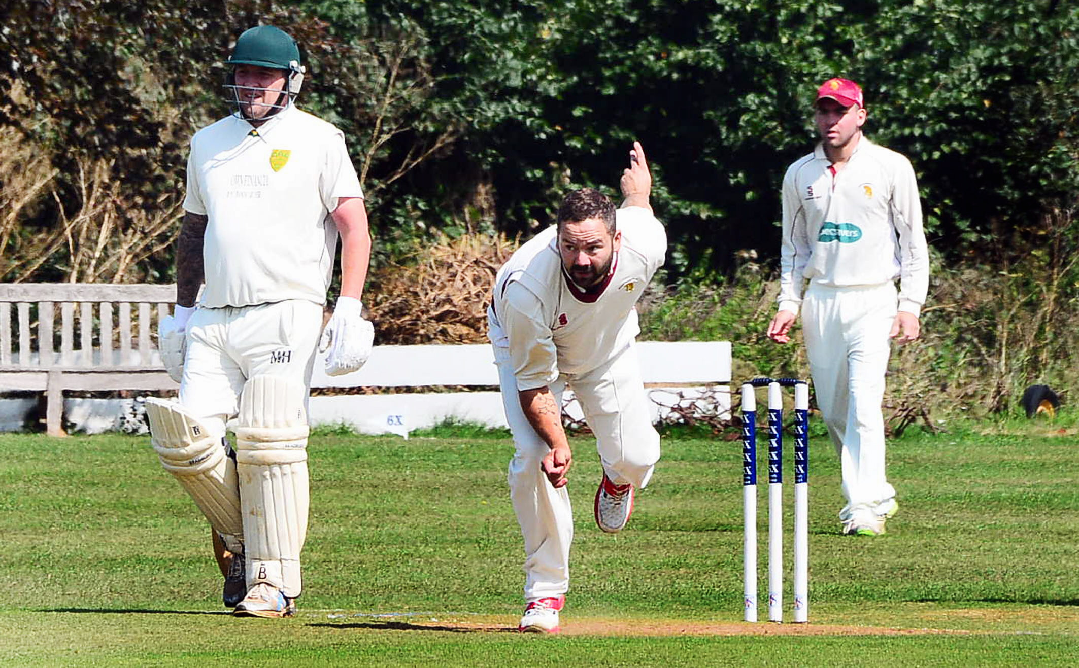 WICKETS: Stacy Hawes on his way to 3-16 for North Perrott against Staplegrove. Pic: Steve Richardson