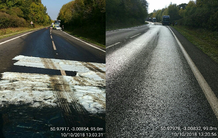 OPEN: The surface of the A358 after the fuel spill. Pictures - Somerset County Council