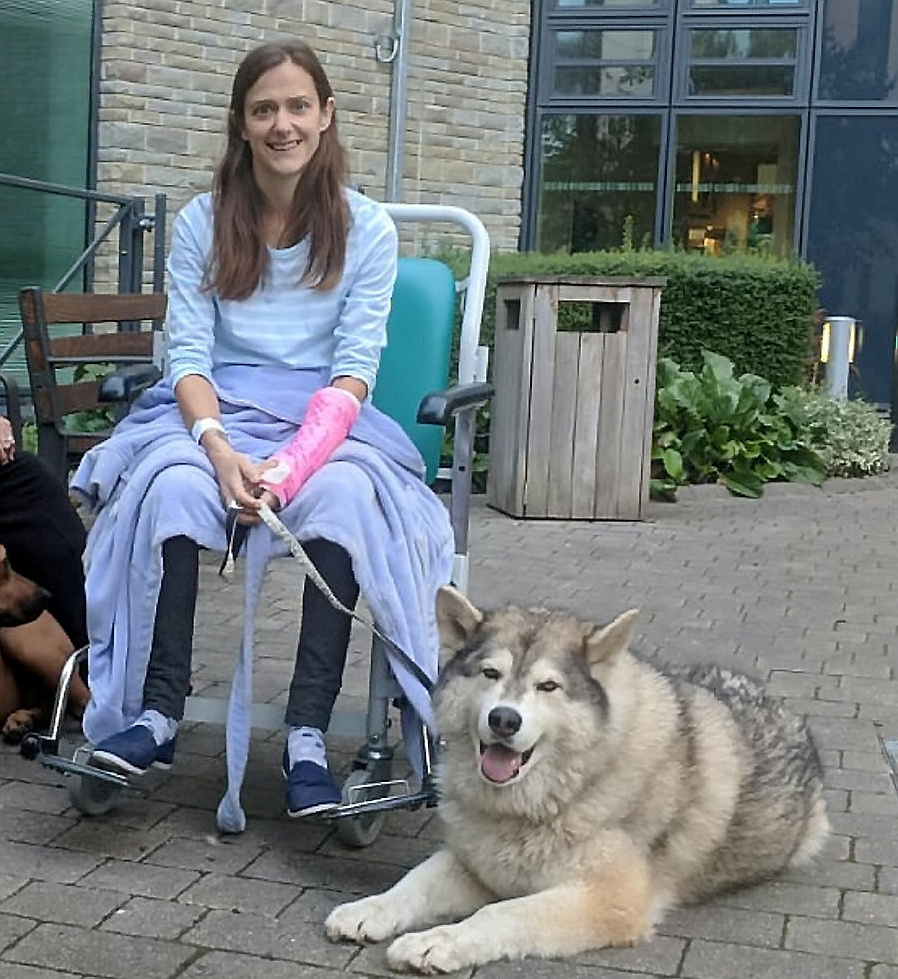 REUNITED: Sally with her faithful dog, Kyra the Alaskan Malamute. PICTURE: SWNS