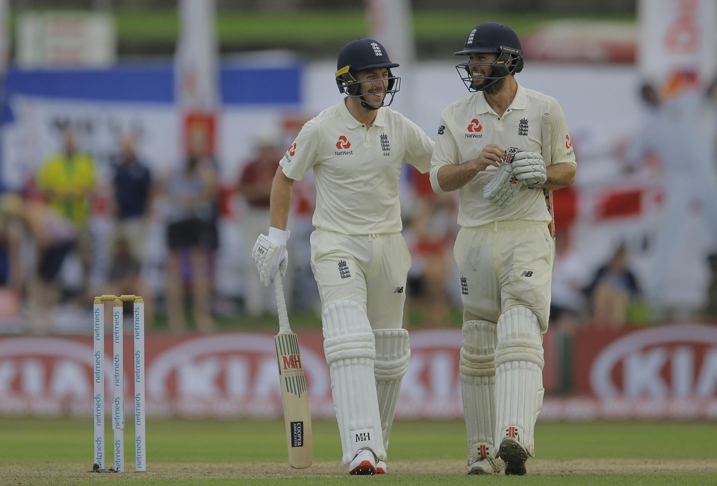 WELL PLAYED: Jack Leach (left) and Ben Foakes saw England through to the close on day one in Galle. Pic: PA