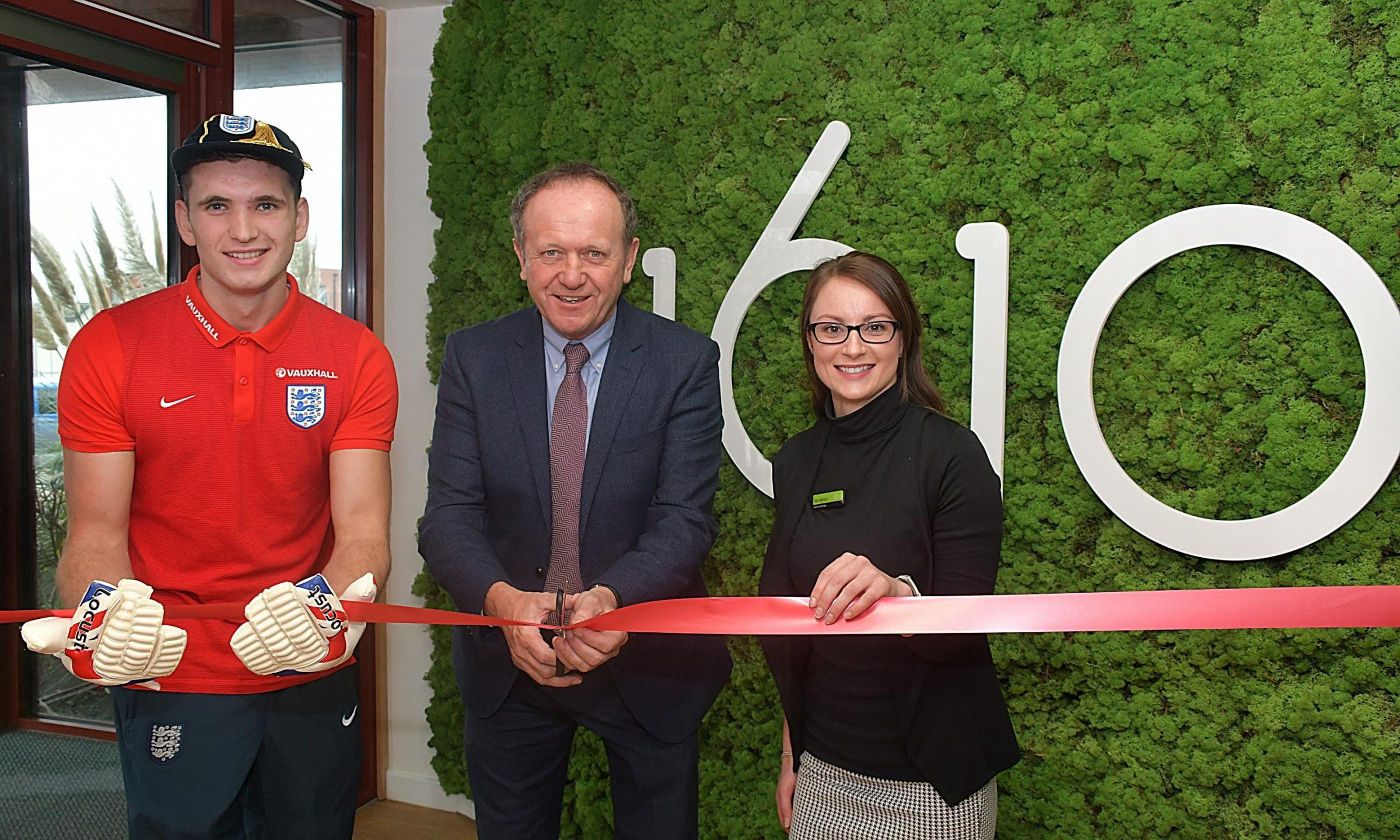 Paralympian Footballer Giles Moore ( pictured left)officially opens the new facilities at 1610 Chard with CEO of 1610 Tim Nightingale (centre) and 1610 Chard Manager Trish Bishop.