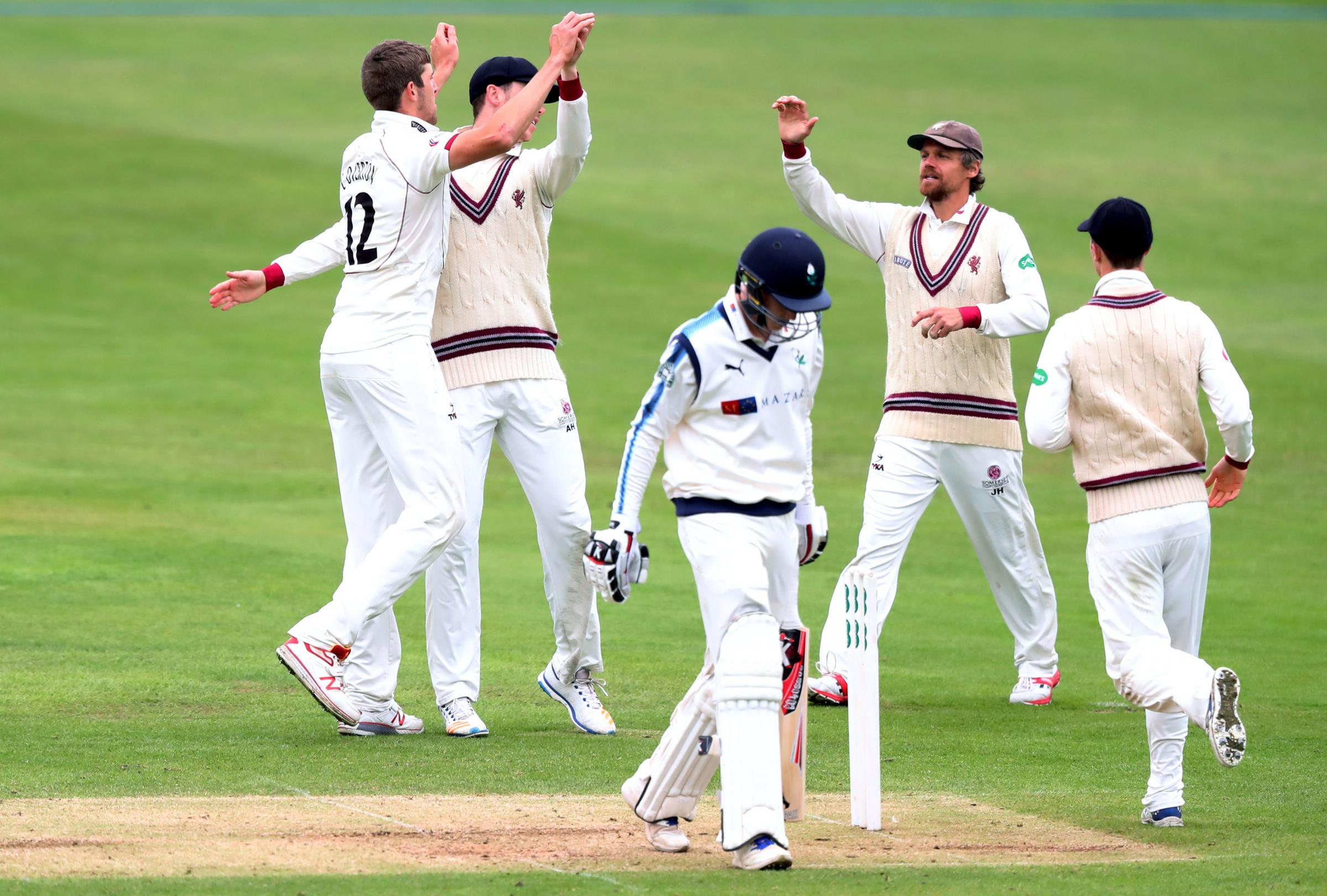 HIGH FIVES: Somerset will return to County Championship action on April 5. Pic: Simon Cooper/PA Wire