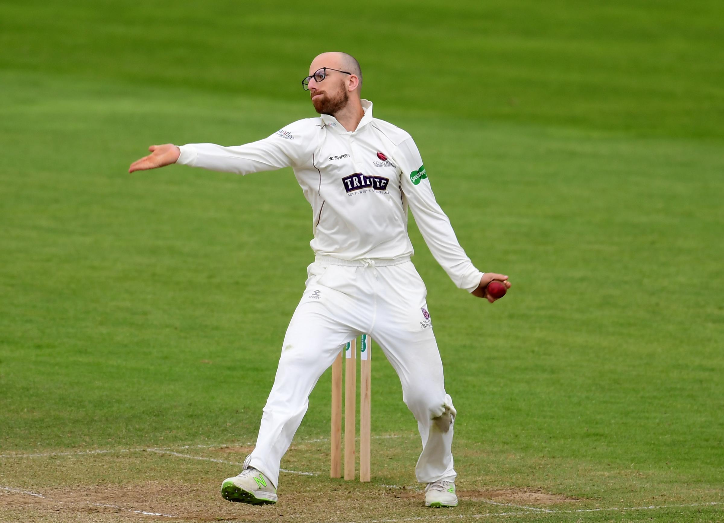 Jack Leach of Somerset bowls.