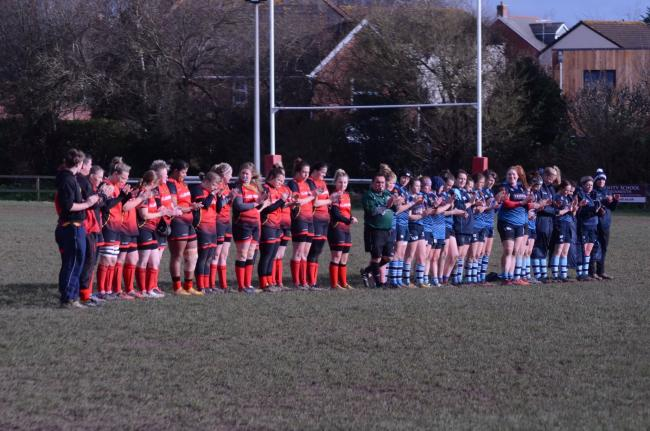 LINE-UP: Chard and Topsham Ladies players ahead of their match on Sunday. Pic: Chard RFC