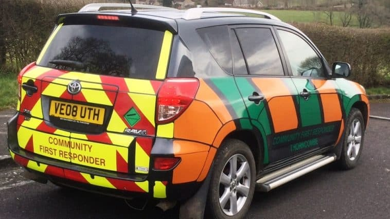 HIT AND RUN: The Thorncombe and Chard first responder vehicle before the collision