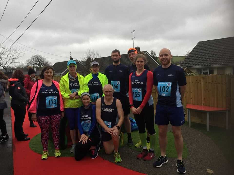 Chard Road Runners at the Combe St Nicholas 10k (L-R): back row - Nicky Smith, Helen Baxter, Claire Gibbs, Matt Baker, James Musselwhite, Rachel Collins, Liam White; front row - Lizzie Smith, Martin Holley.
