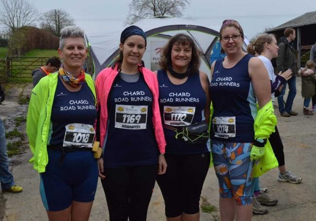 Chard Road Runners (from left) - Helen Baxter, Lizzie Smith, Nicky Smith, Claire Gibbs