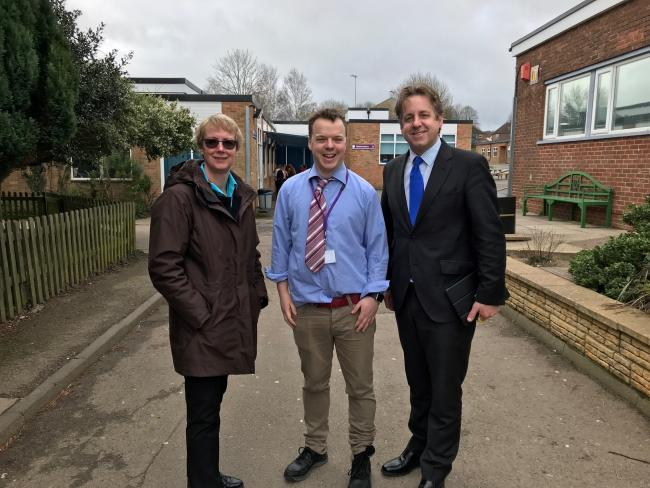 MEET AT LAST: Sara Gorrod, success story Will Mieville-Hawkins and Marcus Fysh MP