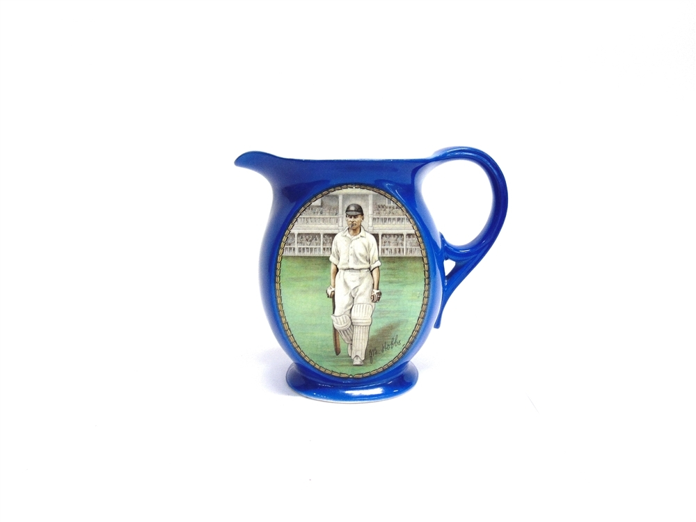 "SPORTING LEGEND: This New Hall pottery jug circa 1930 featuring an image of Jack Hobbs aka ""The Master"" stepping out to bat featured in Greenslade Taylor Hunt's Spring Sporting Sale. Its Autumn counterpart takes place on Thursday, Octobe"