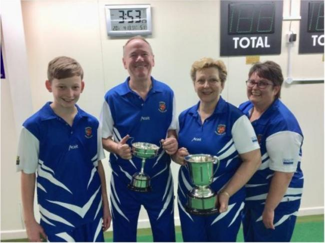 Ilminster Bowling Club presentation night - Oli Collins (men's singles championship runner-up), Chris Robinson (men's singles winner), Angie Thompson (ladies singles winner) and Lynn Beale (ladies singles runner-up).