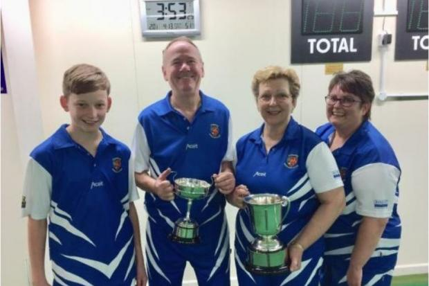 SILVERWARE: Ilminster Bowling Club members Oli Collins, Chris Robinson, Angie Thompson and Lynn Beale