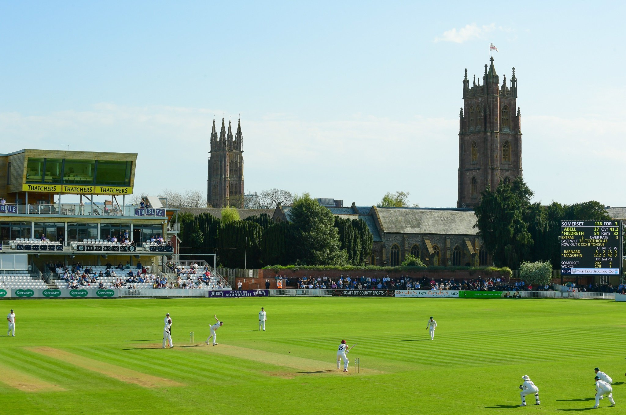 PICTURE PERFECT: Somerset take on Worcestershire in the 2018 season. Pic: Alex Davidson/SCCC