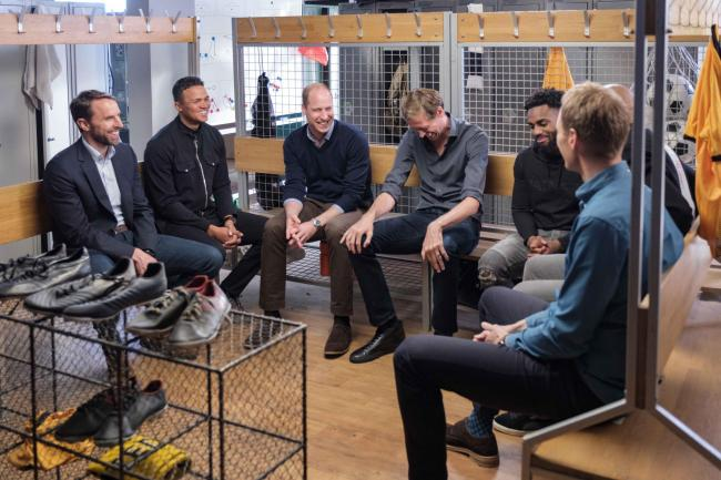 The Duke of Cambridge (third left) speaking with; (left to right) Gareth Southgate, Jermaine Jenas, Peter Crouch, Danny Rose, Thierry Henry and Dan Walker