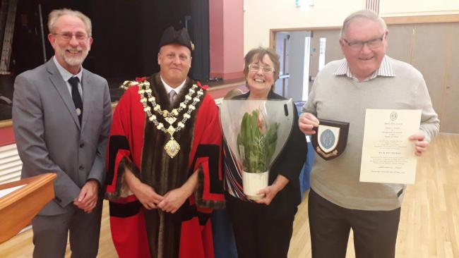HONOURED: At Monday night's awards, Cllr Garry Shortland and Cllr Jason Baker, pictured with Janet and Marshall Herbert